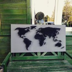 #strimapart    string art Me On A Map, Maps, World, Handmade, Crafts, Hand Made, Manualidades, Blue Prints, The World