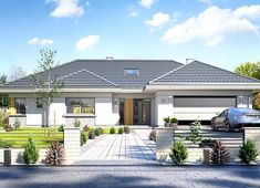 Projekt domu Willa Parterowa 172,05 m² - koszt budowy - EXTRADOM Modern Bungalow House Design, Duplex House Design, Single Storey House Plans, Classic House Exterior, African House, Village House Design, Beautiful House Plans, Pool House Plans, Model House Plan