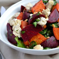 Beetroot & Sweet Potato Salad with Baked Cashew Cheese | Coconut and Berries