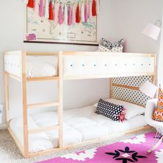 Ikea have created a wonderful toddlers bed that is perfect for customising in whatever way you like. You can hack the Ikea KURA bed to . Kura Ikea, Ikea Bunk Bed Hack, Décor Ikea, Ikea Wall, Bunk Bed Designs, Bedroom Designs, Big Girl Rooms, Kids Rooms, Boy Rooms
