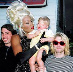 Great pic. Dave Grohl, RuPaul, Francis Bean Cobain and Kurt Cobain