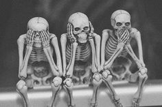 • photography skulls Black and White Cool photo skull skeleton see speak hear three wise monkeys nyctop-hobi-a •
