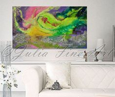 ''The Beauty Of Aurora'' Original Abstract Painting Free Shipping by Julia Apostolova