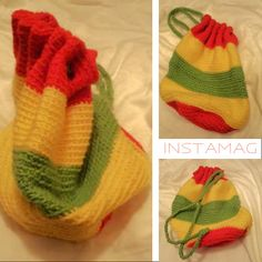 Rasta Colored Knapsack by HiltonHippiesGifts on Etsy