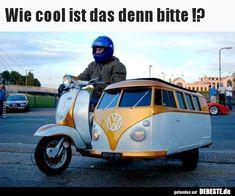 Vespa scooter with VW campervan sidecar. I've always wanted a scooter with a sidecar. Volkswagen Bus, Vw Camper, Mini Camper, Volkswagon Van, Volkswagen Beetles, Scooters Vespa, Motos Vespa, Lambretta Scooter, Piaggio Vespa