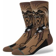 Stance Chewie Socks - Brown Large ($20) ❤ liked on Polyvore featuring men's fashion, men's clothing, men's socks, brown, stance mens socks, mens brown socks and non elastic mens socks