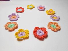 crochet flower crochet applique by elisabethsstories on Etsy