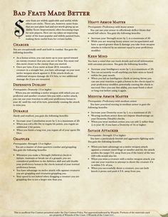 Bad Feats Made Better Dungeons And Dragons Rules, Dungeons And Dragons Classes, Dnd Dragons, Dungeons And Dragons Homebrew, Dnd Feats, Dnd Races, Dnd Classes, Dungeon Master's Guide, Dnd 5e Homebrew