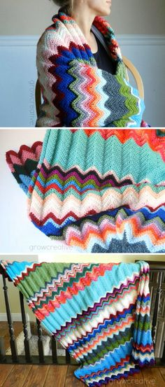 LOTS of really cute and easy blanket patterns. LOVE the colors on this chevron throw!!