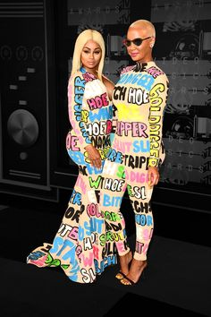 """Blac Chyna and Amber Rose at the 2015 MTV Music Video Awards. Photo: Amber Rose wore her feelings on her sleeves — literally — at the 2015 MTV Music Awards. Rose, along with her good friend Blac Chyna, wore coordinating custom ensembles (skin tight ones at that) on the lavender carpet. """"Stripper,"""" """"slut"""