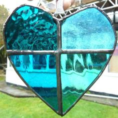 Stained Glass Turquoise Heart Suncatcher £13.50