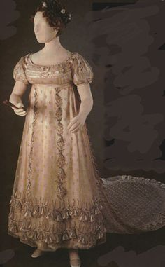 Dress of Princess Charlotte  Copyright held by Queen Elizabeth II  The Museum of London is exhibiting this court dress of Princess Charlotte, c. 1814- 6. The train is very like that depicted on an engraving of Princess Charlotte's wedding dress. The dress is shown with satin slippers.
