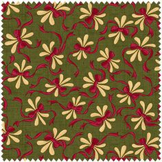Floral & Ribbon Design on Green  Vintage Farmhouse  by fabric406, $9.85