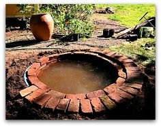 How to Make a Garden Fountain, brick lined fountain pool DIY Water Pond, Water Garden, Ponds Backyard, Backyard Waterfalls, Garden Ponds, Koi Ponds, Pond Landscaping, Brick Edging, Diy Pond