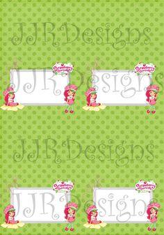 Strawberry Shortcake Food Tent Labels