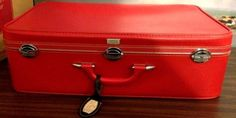 # Vintage Amelia Earhart Suitcase,#Luggage Large Soft Shell Retro Red 1960