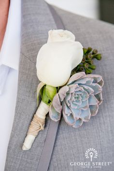 rose and succulents boutonniere Wedding Ties, Diy Wedding, Wedding Bouquets, Dream Wedding, Wedding Decor, Wedding Stuff, Wedding Dresses, Prom Flowers, Wedding Flowers