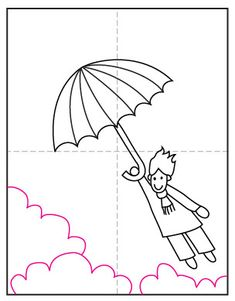 Learn how to draw a windy day by showing someone flying away on an umbrella. Make sure to add some flying hair too! Classroom Art Projects, Art Classroom, Projects For Kids, Liquid Watercolor, Watercolor Paper, Drawing For Kids, Art For Kids, Little Girl Names, Sharpie Markers