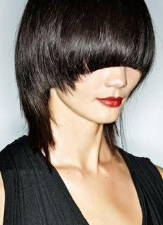 bold cut, blunt bang. hair by studio dna.