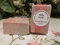 Cold Process Natural Baby Powder Salt Bar 5.5 oz Sea Salt, Coconut Oil, Shea Butter FREE SHIPPING