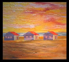 Beach Houses -  Mickey Lawler, Skydyes Gallery. 56x48.  using large pieces of painted fabrics for sky and beach.