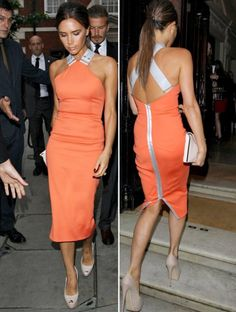 Fashion icon Victoria Beckham was names Glamour Magazines Woman of the Decade on Tuesday night. She attended the event with her son, Brooklyn Beckham. Since I happen to love my girl Posh Spice, let's take a look back at her fashion over the decade. Victoria Beckham Stil, Victoria Beckham Outfits, Tangerine Dress, Orange Dress, Vic Beckham, Look Fashion, Womens Fashion, Fashion Design, Victoria Fashion