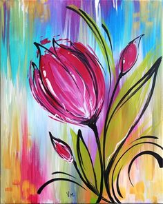 We host painting events at local bars and restaurants. Come join us for a Paint Nite Party! Simple Acrylic Paintings, Acrylic Art, Colorful Paintings, Tulip Painting, Painting & Drawing, Acrylic Painting Flowers, Painting Abstract, Abstract Landscape, Diy Painting