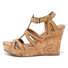 Sea Star Tan Wedge Sandals (36 CAD) ❤ liked on Polyvore featuring shoes, sandals, brown, vegan sandals, platform wedge sandals, caged sandals, ankle wrap sandals and brown wedge sandals