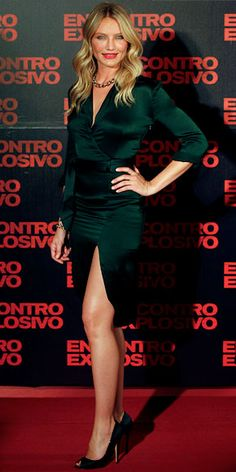 Cameron Diaz hit the Brazilian premiere of Knight and Day in a forest green satin wrap dress, black Casadei peep-toes and Pomellato jewelry