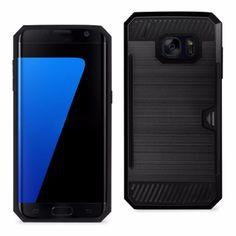 Reiko Samsung Galaxy S7 Slim Armor Hybrid Case Black With Card Holder
