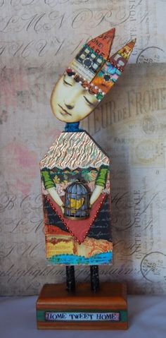 Altered Art Doll  Home Tweet Home by desertdreamstudios on Etsy