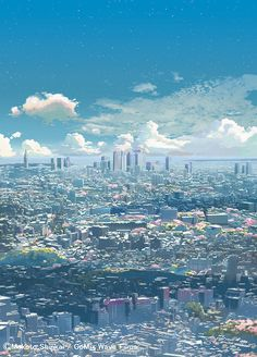 "Zentimeter pro Sekunde"" Bild (C) Makoto Shinkai / CoMix Wave Fil . Anime Backgrounds Wallpapers, Anime Scenery Wallpaper, Animes Wallpapers, Sky Anime, Anime City, Scenery Background, Animation Background, Fantasy Art Landscapes, Landscape Art"