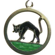 14K Gold Black Cat Enamel Charm - Vintage..