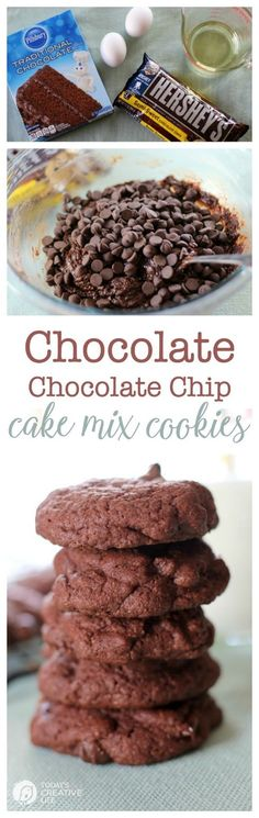 Chocolate Chocolate Chip Cake Mix Cookies | Why reinvent the wheel. When you need quick and fail proof cookies this is your recipe! Chocolate lovers will love you! See more on Today's Creative Life- Click the photo for the recipe.