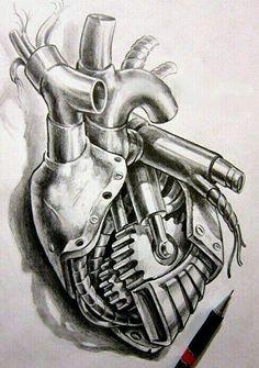 Car Tattoos, Biker Tattoos, Badass Tattoos, Skull Tattoos, Body Art Tattoos, Sleeve Tattoos, Biomech Tattoo, Piston Tattoo, Biomechanical Tattoo Design