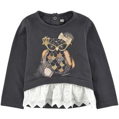 Cotton jersey  Cotton broderie anglaise lace Pleasant to the touch Crew neck Patch at the bottom Long sleeves Snap buttons in the back Fancy bow Fancy print - $ 73