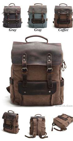 Vintage Large Laptop Thick Canvas Travel Rucksack Bag Splicing Leather Outdoor Backpacks for this summer ! #travel #summer #canvas #travel #backpack #student #bag #school #college #rucksack