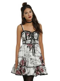 Floral Music Dress, WHITE
