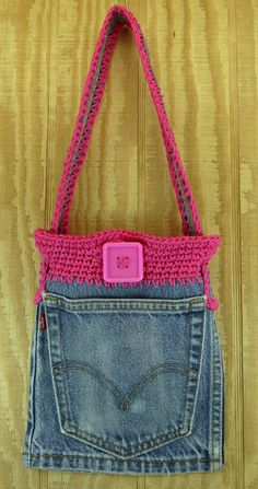 Recycled denim purse crochet girls shoulder bag by Heads2Toes,