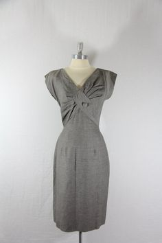1950s Dress - Gray V Neck Sexy Office Wiggle Frock. via Etsy.