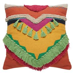 POCAH multicoloured cotton cushion with tassels and fringing 45 x 45 cm