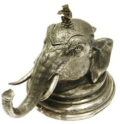 Silver Plate Elephant inkstand c1890...Perfect for a study.