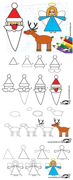 How to Draw Santa, Reindeer, and other Christmas characters Christmas Doodles, Christmas Art, Simple Christmas, Christmas Things, Easy Christmas Drawings, Christmas Holidays, Christmas Vacation, Drawing For Kids, Art For Kids
