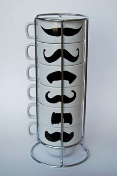SALE White Mustache Coffee Mugs - set of 6 stackable mugs and chrome holder. $23.00, via Etsy. Future wedding gift idea for anyone to me. Haha. All I would need is mugs to keep me happy.