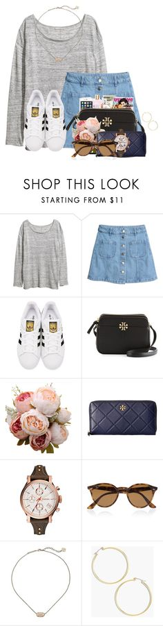 """~can anybody see her~"" by flroasburn ❤ liked on Polyvore featuring H&M, adidas Originals, Tory Burch, FOSSIL, Ray-Ban, Kendra Scott and J.Crew"