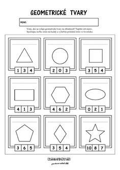 Geometrické tvary - pracovný list Worksheets For Kids, Printable Worksheets, Printables, Shapes, Colors, Geometry, Kids Worksheets, Print Templates, Colour