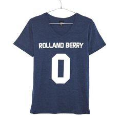 ローランドベリー Vネック ショートスリーブ ボックス ロゴ ナンバー Tシャツ ネイビー