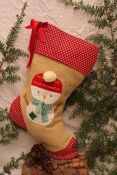 0f836bc4e23f Handmade Personalised Snowman Christmas stocking   Burlap stocking   Hessian  stocking   vintage style lined stocking