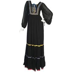 Preowned Rumak & Sample Peasant Folk Embroidered Black Maxi Chiffon... ($331) ❤ liked on Polyvore featuring dresses, black, maxi dresses, loose fit maxi dress, chiffon dresses, embroidery dresses, loose maxi dress and vintage chiffon dress