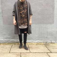 Shoe & cardigan combination | with a touch of camo
